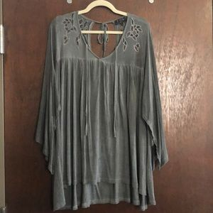 Grey boho embroidered tunic top POL size large